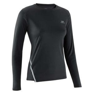 KALENJI Dámske bežecké tričko Run Sun Protect s dlhým rukávom čierne