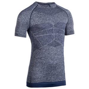DOMYOS Pánske kompresné tričko na posilňovanie modré