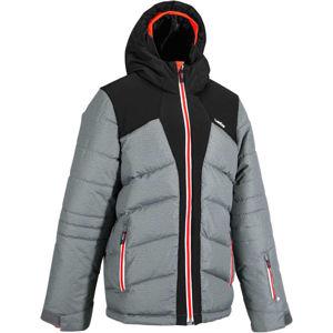 WEDZE Detská lyžiarska bunda 500 hrejivá sivo-čierna